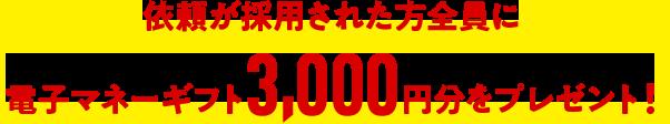 依頼が採用された方全員に電子マネーギフト3,000円分をプレゼント