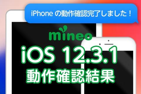 【更新】iOS 12.3.2のmineoでの動作確認結果(6月12日10:20更新)